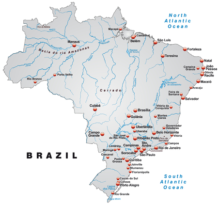 belem: Map of Brazil as an overview map in gray