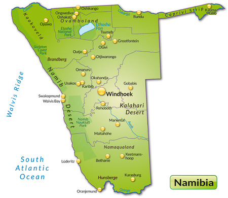 kalahari desert: Map of Namibia as an overview map in green Illustration