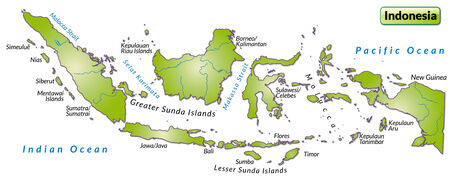 site map: Map of Indonesia as an overview map in green