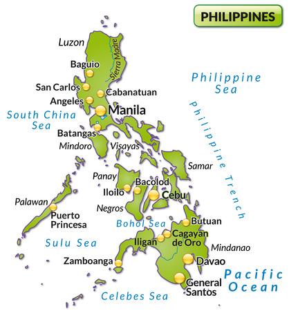 Kaart van de Filippijnen als een overzichtskaart in het groen