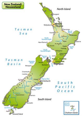 緑の概要マップとしてニュージーランドの地図  イラスト・ベクター素材