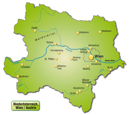 Map of Lower Austria as an overview map in green Vector