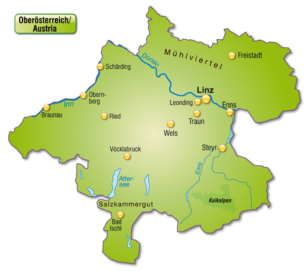 Map of upper Austria as an overview map in green Vector