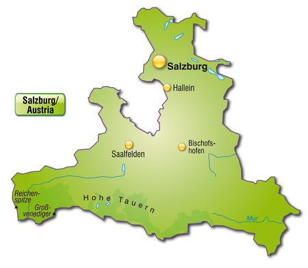 saalfelden: Map of salzburg as an overview map in green