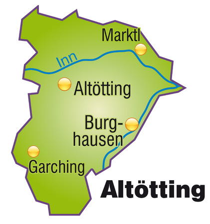 overview: Map of Altoetting as an overview map in green