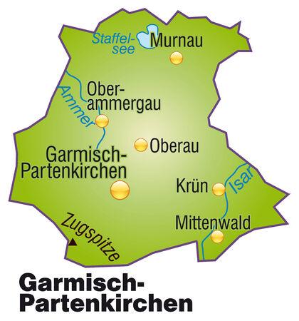 overview: Map of Garmisch-Partenkirchen as an overview map in green Illustration