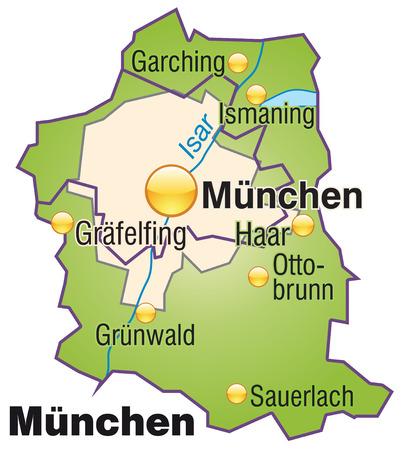 m�nchen: Kaart van München als een overzichtskaart in het groen
