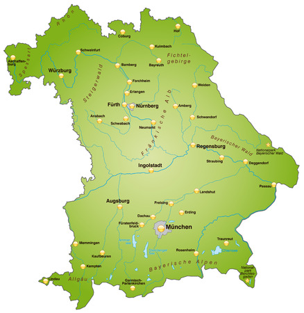 Map of Bavaria as an overview map in green