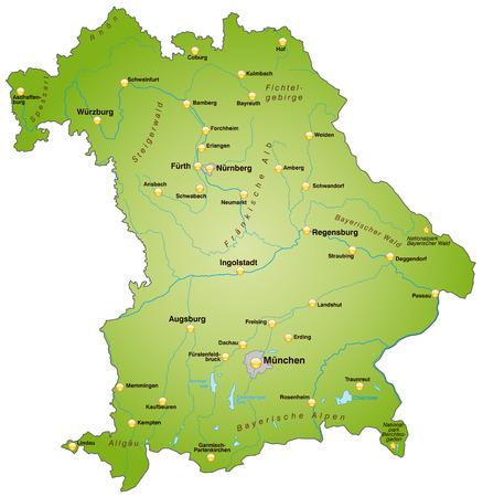 Kaart van Beieren als een overzichtskaart in het groen Stock Illustratie
