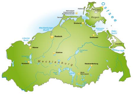 Kaart van Mecklenburg-Voor-Pommeren als een overzichtskaart in het groen Stock Illustratie