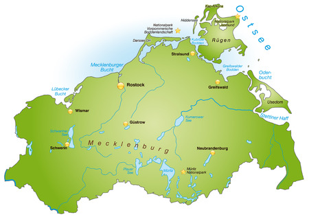 Map of Mecklenburg-Western Pomerania as an overview map in green
