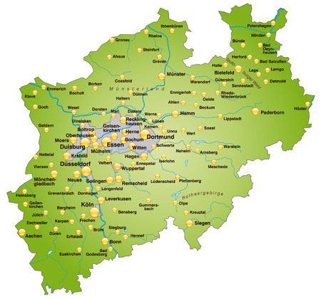 north rhine westphalia: Map of North Rhine-Westphalia as an overview map in green