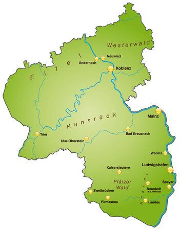 Kaart van Rijnland-Palts als een overzichtskaart in het groen Stock Illustratie