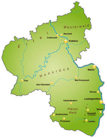 Map of Rhineland-Palatinate as an overview map in green Illusztráció