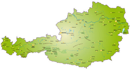 cartographer: Map of Austria as an overview map in green