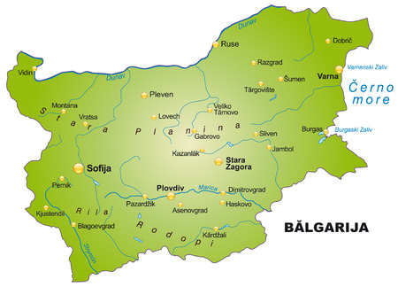 ruse: Map of Bulgaria as an overview map in green