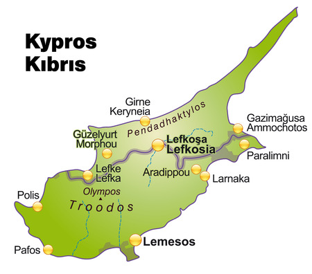 cyprus: Map of Cyprus as an overview map in green