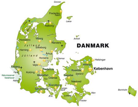 Kaart van Denemarken als een overzichtskaart in het groen