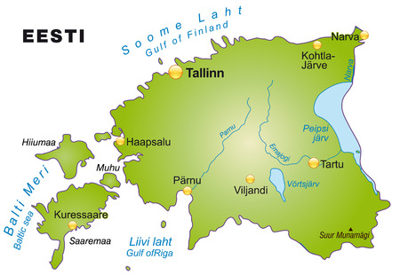 Map of Estonia as an overview map in green Vector