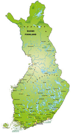 rovaniemi: Map of Finland as an overview map in green
