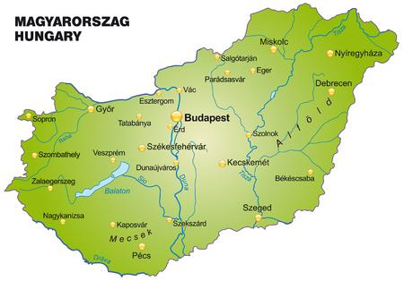 Kaart van Hongarije als een overzichtskaart in het groen