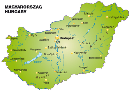 Map of Hungary as an overview map in green