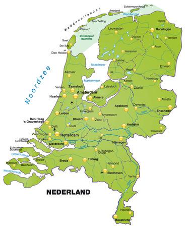 Kaart van Nederland als een overzichtskaart in het groen Stock Illustratie