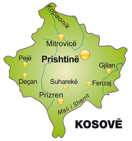 Kaart van Kosovo als een overzichtskaart in het groen
