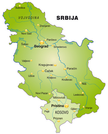 Map of Serbia as an overview map in green Çizim