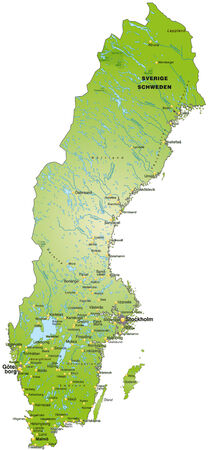 sverige: Map of Sweden as an overview map in green Illustration