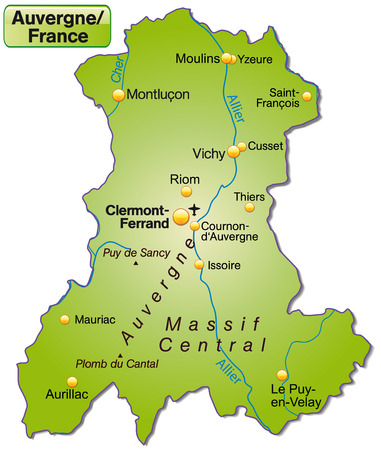 overview: Map of auvergne as an overview map in green Illustration