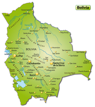 Map of Bolivia as an overview map in green