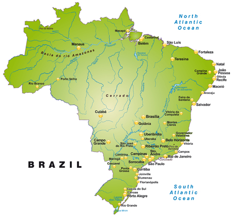 belem: Map of Brazil as an overview map in green Illustration