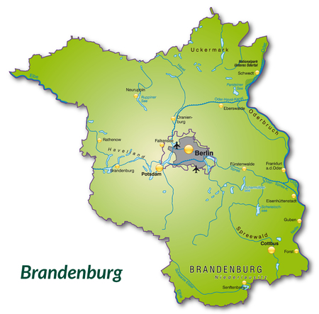 falkensee: Map of Brandenburg as an overview map in green Illustration