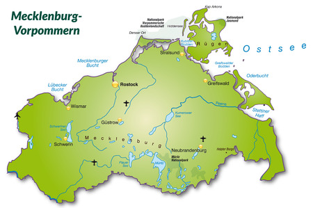 overview: Map of Mecklenburg-Western Pomerania as an overview map in green