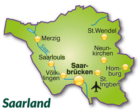 saarlouis: Map of Saarland as an overview map in green
