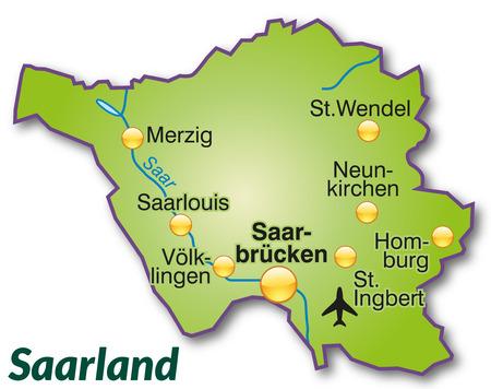 saarlouis: Mapa de Saarland como un mapa general en verde