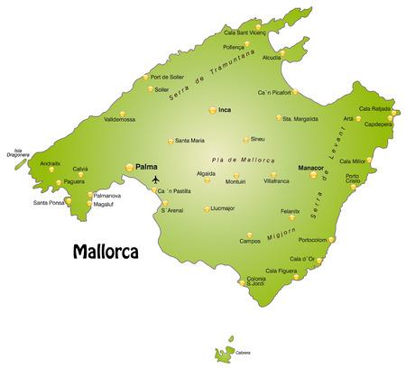 Kaart van mallorca als een overzichtskaart in het groen