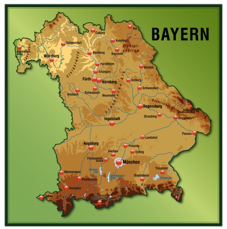 Map Of Bavaria As An Overview Map With Hight Layers Royalty Free