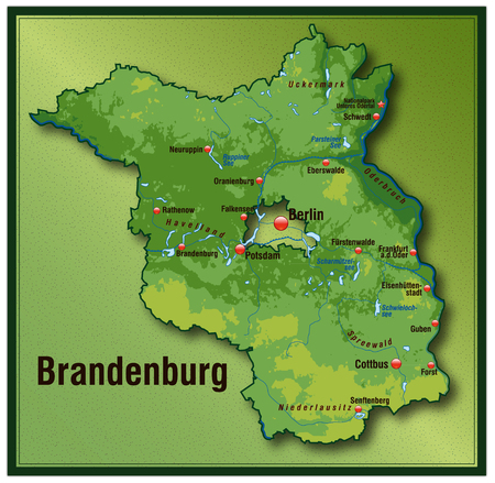 Map of Brandenburg as an overview map with hight layers Vector