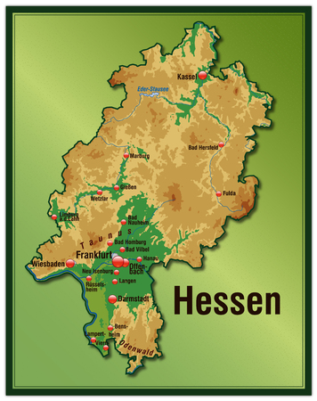 Map of Hesse as an overview map with hight layers Illustration