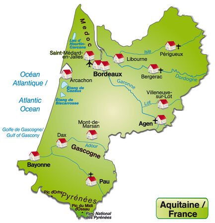 cartographer: Map of aquitaine as an overview map in green