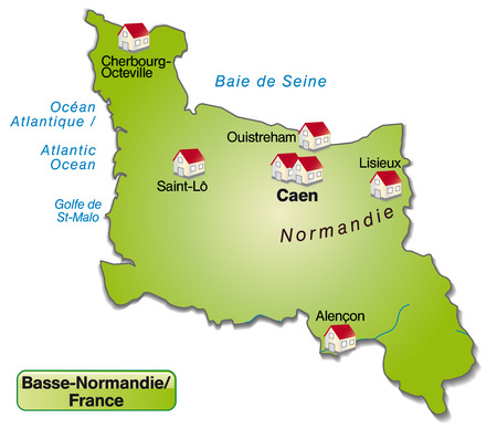 basse normandy: Map of Lower Normandy as an overview map in green