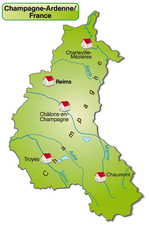 Map of Champagne-Ardenne as an overview map in green