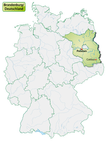 falkensee: Map of Brandenburg with main cities in pastel green