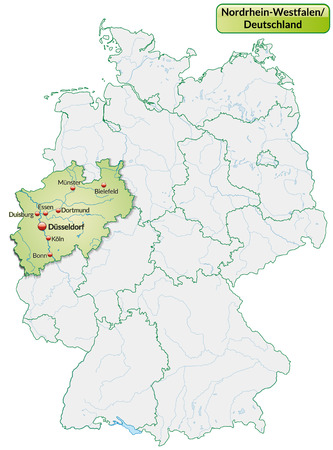 north rhine westphalia: Map of North Rhine-Westphalia with main cities in pastel green Illustration
