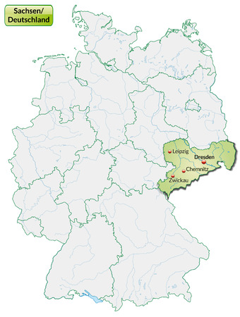 Map of Saxony with main cities in pastel green