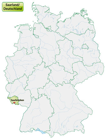 saarlouis: Map of Saarland with main cities in pastel green Illustration