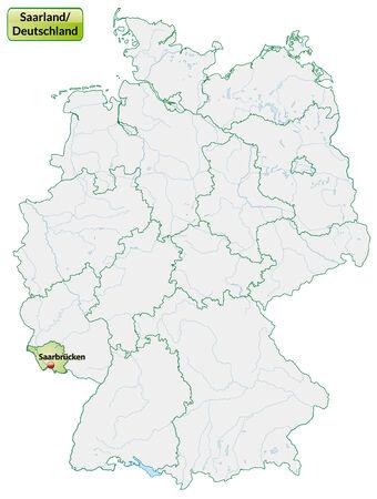 saarlouis: Mapa de Saarland con las principales ciudades en verde pastel