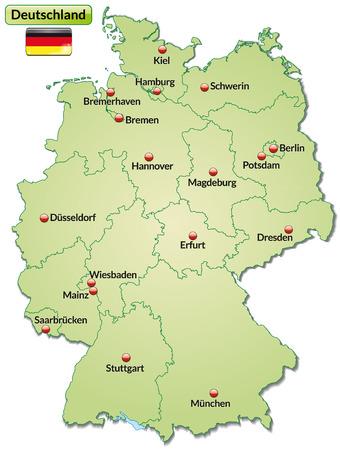 Carte de l'Allemagne avec les principaux villes en vert pastel